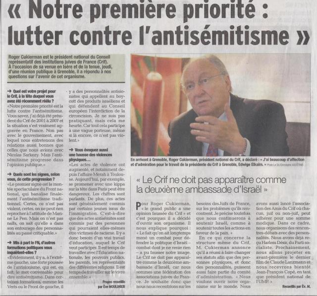 Dauphiné Libéré du 12.10.2013