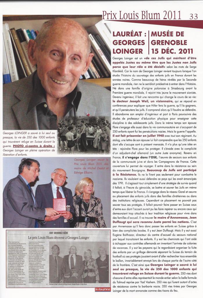 Prix Louis Blum 2011 - Georges Loinger